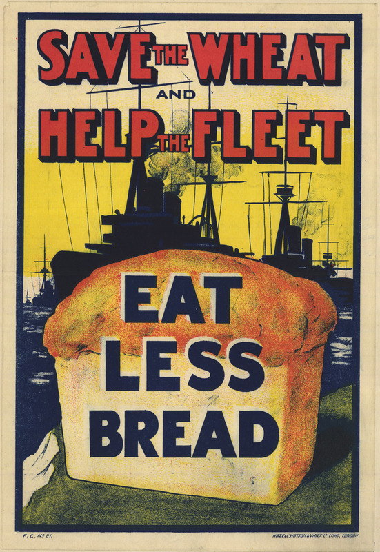 Text appears over the silhouettes of ship behind a loaf of bread.