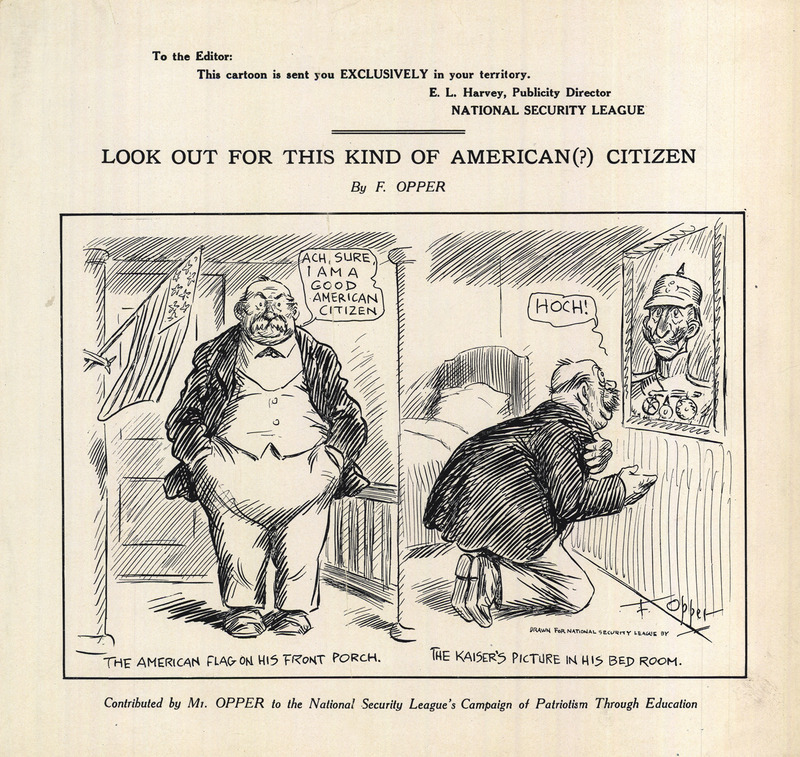A two-panel cartoon.  On the left a bald, mustached, heavy-set, well-dressed man stands on his front porch next to an American flag.  On the right, the same man kneels before a portrait of the Kaiser on his bedroom wall.