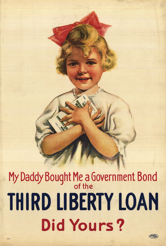 A smiling blonde-haired girl of 5 or 6 years is pictured clutching a government bond to her chest with both hands.