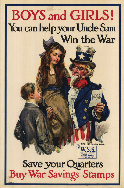 Uncle Sam carries a young girl of around 10 to 13 years with his right arm while holding War Savings Stamps with his left hand  A slightly younger boy stands facing.  Both children are well dressed.