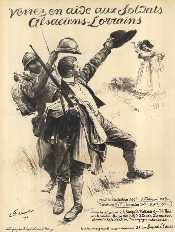 A well-dressed civilian man waves goodbye to his wife and daughter in a pastoral setting while a nearby French infantryman outfits him with a rifle and helmet.