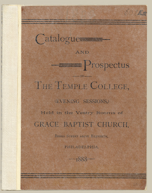 the brown, slightly worn cover of the Temple College Course Catalog
