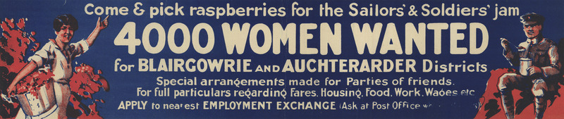 White text appears on blue across a long banner-shaped poster.  A woman picking berries  and a soldier eating jam appear at opposite ends.