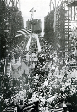 civilians celebrate the launching of the S. S. Quistconck