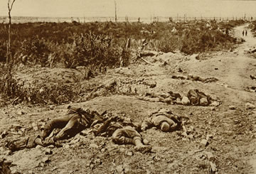 German soldiers lying on a battlefield