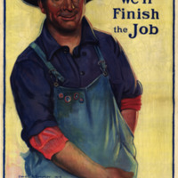 A smiling man in a hat and work clothes reaches into his pocket for money.  The four buttons on his overalls signify that he has financially supported each previous Liberty Loan campaign.