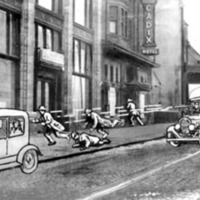 drawings of two cars racing down a street and four gangsters fleeing on foot, imposed over a black and white photograph of a city street