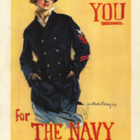 a young woman wearing a Naval officer's cap and jacket, with her hands in her pockets