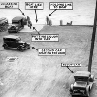 "three cars by a dock, and a boat tethered to the dock. Text bubbles with arrows appear over strategic spots, outlining the route that liquor took to get from the boat to the car.  The text reads ""unloading boat, boat lies here, holding line to boat, putting liquor into car, second car waiting for load, scout car"""
