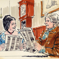 Illustration of 18th century man and woman reading large pamphlets at the table.