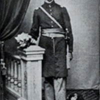 young Russell Conwell, posing in an army dress uniform, next to a railing