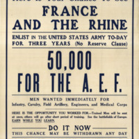"Dark text on a white poster.  ""50,000 for the A.E.F."" is the largest piece of text among various sizes and appears in the middle of the poster."