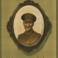 A framed oval portrait of a British soldier hangs on a wall from a blue ribbon.