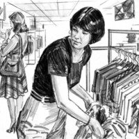 Illustration of a woman shoplifting from a clothing store.