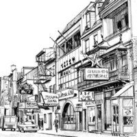 Black and white line drawing of a block of Chinatown in Philadelphia