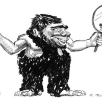 Cartoon drawing of a bearded caveman looking at the viewer with a club in one hand and a mirror in the other
