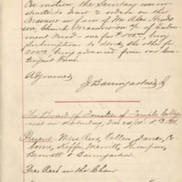a handwritten page from the Trustee's minutes