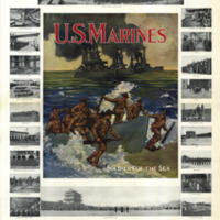 A larger illustration of Marines going ashore from landing craft with warships in the background is surrounded by small photographs showing Marines in various locations around the world.