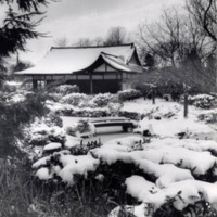 Japanese style building in a garden covered in snow