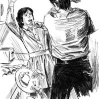 A black and white drawing of a man about to strike a woman with his left hand
