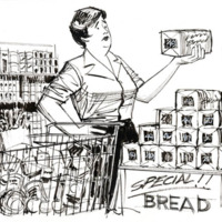 Illustration of a woman in a supermarket holding a loaf of bread.