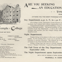 pamphlet advertising an education at Temple College