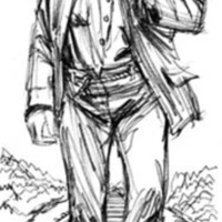 A cartoon man dressed in ragged clothing with a piece of rope for a belt walks along train tracks