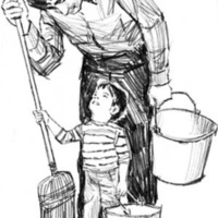 Illustration of a man, holding a broom and pail, standing over a young boy who is also holding a pail.