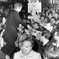 Robert and Ethel Kennedy greet a crowd