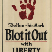 A large bloody hand print appears above the poster text.