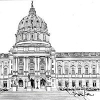 Black and white line drawing of the Pennsylvania State Capitol  Building