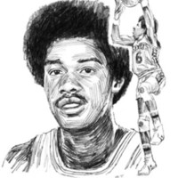 Drawn portrait of Julius Erving