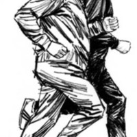 A drawing of two men in athletic clothing jogging