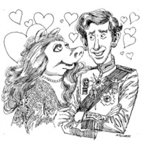 Miss Piggy and Prince Charles look at one another surrounded by hearts
