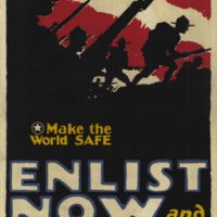 Soldiers in campaign hats are shown in silhouette advancing with bayonets against a red and white striped background.