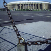 A lock and chain barricading Veterans Stadium