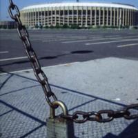 A lock and chain barricading Veterans Stadium