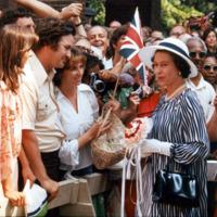 Queen Elizabeth II of England greets a crowd