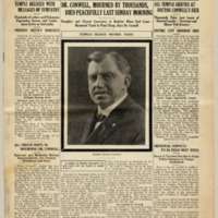Front page of an issue of Temple University Weekly dedicated to Russell Conwell, featuring a photograph of him in the center column